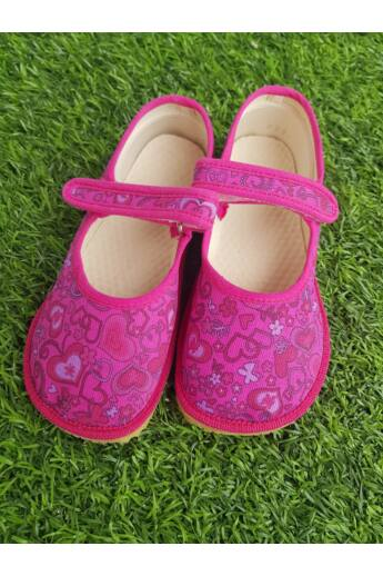 Beda Barefoot - Papucs - Pink szívecskék - 25-35